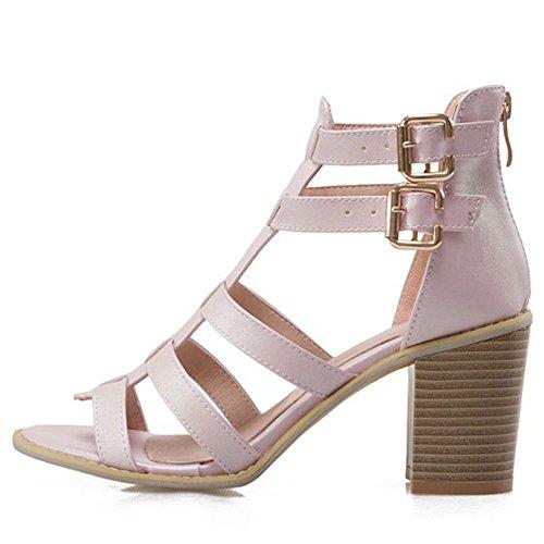 wealsex Sandales Cuir Femmes Spartiates Montantes Talons Carrés Bout Ouvert  Boucles Fermeture Eclair Chaussure Eté Confort ... 544972b69542