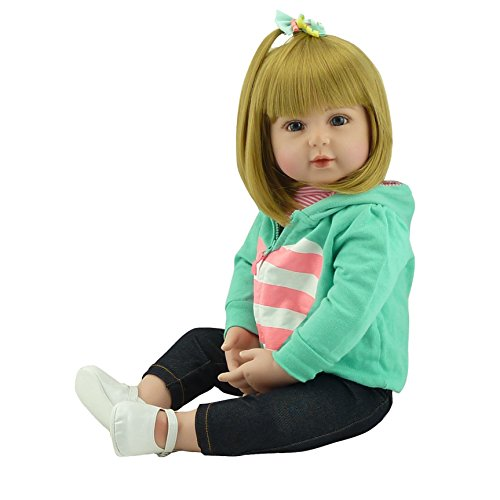 Pinky 22 Inch/55cm Soft Dolls Reborn Baby Girl Realistic Look Real Newborn Doll Toddler Reborns Silicone Babies ()