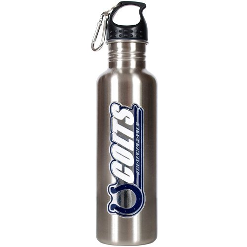NFL Indianapolis Colts Stainless Steel Water Bottle with Pop-Up Spout, 26-Ounce, Silver