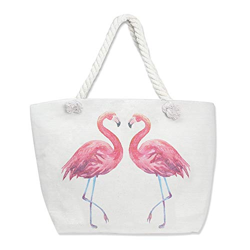 Me Plus Summer Large Beach Tote Bag Zipper Closure Braided Rope Handles Inner Pocket (Flamingo)]()