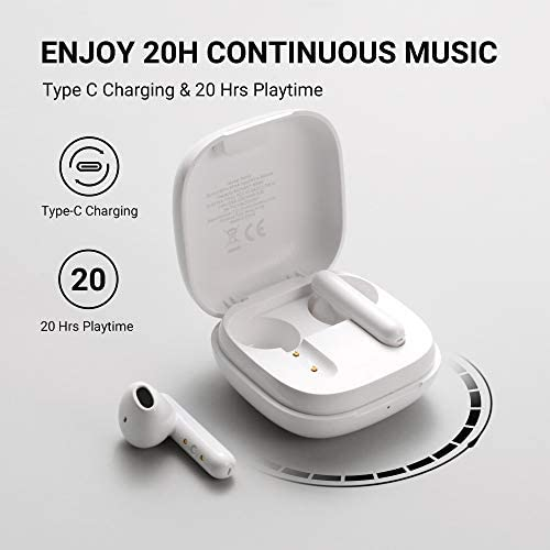 TCL S150 True Wireless Earbuds, Deep Bass with 13mm Drivers, Bluetooth 5.0 Headphones, Type C Charging Case, Noise Isolation, Waterproof Touch Control Wireless Earphones with Mic for Work, Home workplace