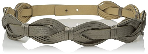 Vince Camuto Women's 1 5/8 Inch Woven Belt with Snap Back, Gunmetal, Large
