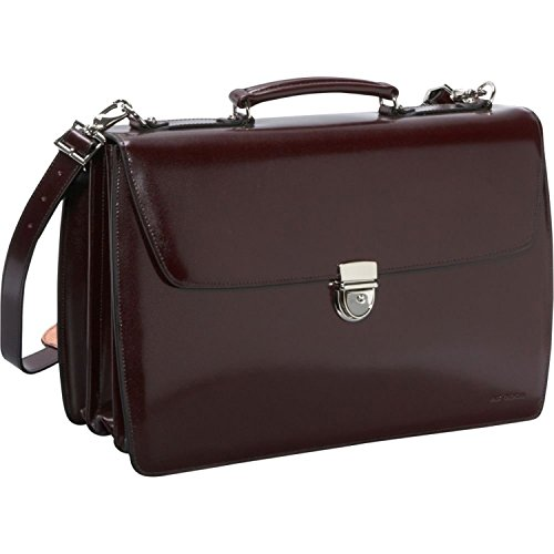Jack Georges Elements Collection Triple Gusset Flap Over Briefcase in Burgundy (Leather Triple Gusset Flap)
