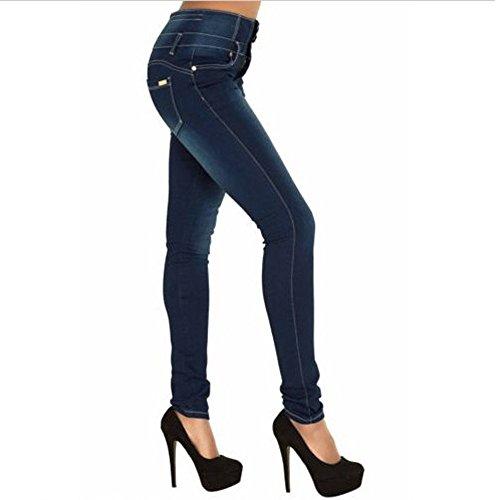 Sottile Casuale Matita Denim Jeans Byste Donna Vita Strappato Allungare Slim Pantaloni Alto vIOqaqw