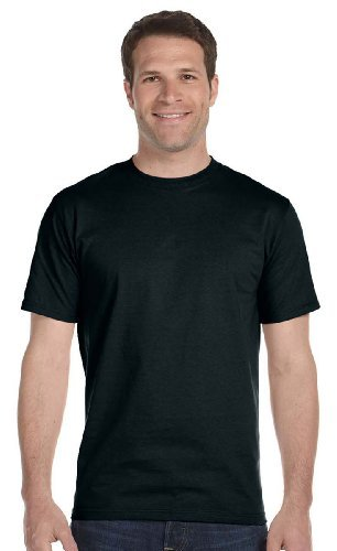 - Hanes 5.2 oz. ComfortSoft Cotton T-Shirt (5280) Pack of 6- BLACK,XL