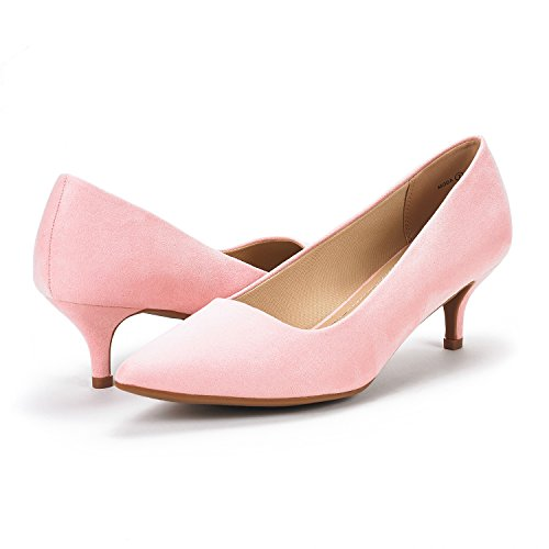 Low Moda Pointed Women's PAIRS Pump Shoes D'Orsay Heel Suede Pink Toe DREAM 4EqtwFw