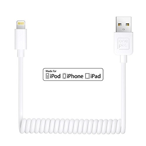 onepix [Apple MFi Certified] Coiled iPhone Cable, 3ft Coiled Lightning Cable for iPhone X 5 5s 5c 6 6s 7 8 Plus, iPad Pro, Air 2, iPad mini 4 3 2, iPod touch 5 6 7(white)