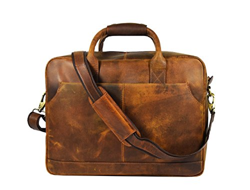 (Leather Castle Vintage Laptop Messenger Cross Body Bag, 16x12 Inch - Cinnamon Brown)