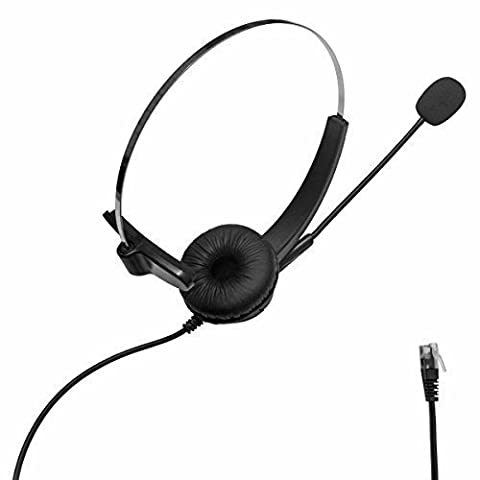 SENHAI Hands-free Wired Heddset,4-Pin RJ9 Crystal Plug Head Band Headphone with Microphone for Call Center as Telemarketing,Telephone Counseling Service,Insurance Call Center,Hospitals,Bank and etc