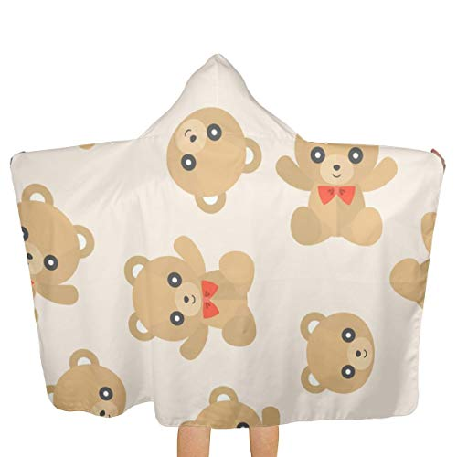 - Oversized Hooded Baby Towel Bathrobe Seamless Pattern Cute Teddy Bear for Use As Beach Bath Towel Toddler Swim Pool Coverup Poncho Cape for Kids Children Teenager
