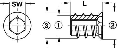 Gedotec Einschraubmutter Metall Gewinde-Einsatz befestigen Einpressmutter Befestigung Innensechskant M6 x 10 mm Stahl verzinkt Einschraub-Muffen mit Abdeckrand Gewindemuffen Holz 100 St/ück