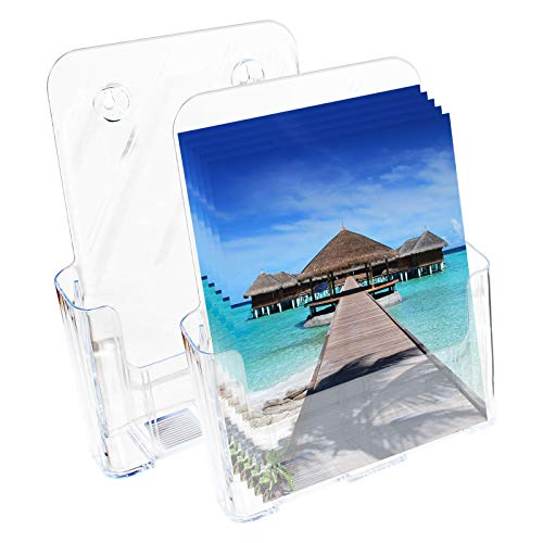 Brochure Holder - 2 Pack(10.82 x 9.05 Inches) - Acrylic Literature Document and Business Card Holder - Clear Acrylic Countertop Organizer- Ideal for A4 booklets, Posters, Menus