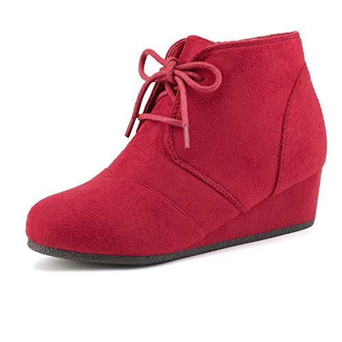 DREAM PAIRS Big Kid Tomson-K Red Girl's Low Wedge Heel Booties Shoes - 4 M US Big Kid