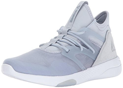 Reebok Women's Hayasu Track Shoe, Cloud Grey/Meteor Grey/Silver Metallic/White/Electric Flash, 8.5 M US Faster Mid Trail Shoes