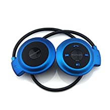 Efanr Mini-503 Universal Foldable Neckband Wireless Stereo Bluetooth Earphone Sport Headset Music Player Headphone Hands Free Calling with Built-in Microphone CSR A2DP AVRCP For iPhone 6 Plus 6 5 5S 5C 4 4S / iPad 4 3 2 Air 2 Mini 3 2 / Samsung Galaxy S6 S6 Edge S5 S4 S3 Note 4 Note 3 Note2 / LG / Nokia / Lenovo / Sony / BlackBerry / HTC and All Other Bluetooth-enabled Android IOS Smartphones and Tablets (Blue)