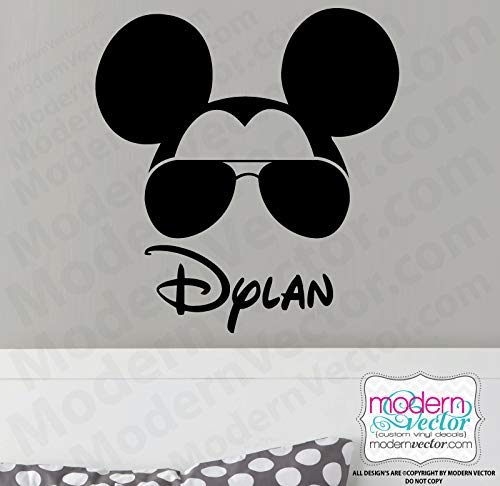 Personalized Aviators Mickey Mouse Name Vinyl Wall Decal