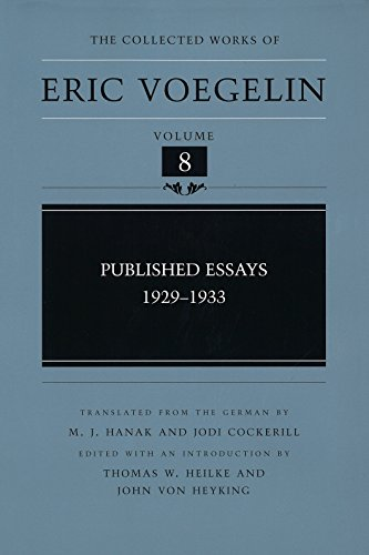 Books : Published Essays: 1929-1933 (Collected Works of Eric Voegelin, Volume 8)