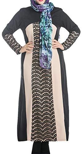 Size Dress Splice Lace Crewneck Plus Casual Maxi Cromoncent Muslim Black Womens IBwSqnzT