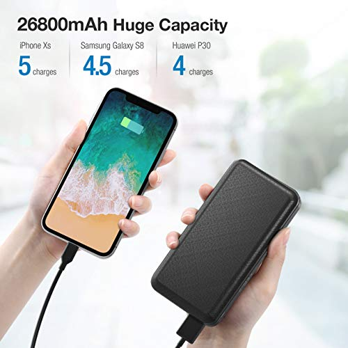 IEsafy 26800mAh Portable Power Bank, Ultra-Compact High-Speed Charging Portable Charger, Dual USB Outputs, Type-C & Micro USB Inputs, Compatible for iPhone 11 XR Samsung S10 Google LG iPad and More