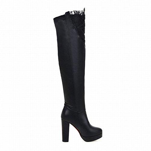 Latasa Dames Lace Platform Hoge Hakken Lange Jurk Laarzen Zwart