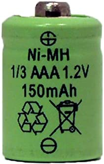 for Solar Lights 2 x 1//3 AAA 150 mAh Button Top NiMH Battery