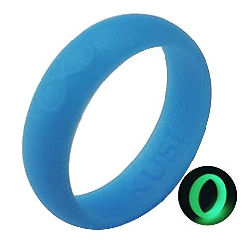 KUSI Infinity Women's Silicone Wedding Ring - Blue - Glow in the Dark ()