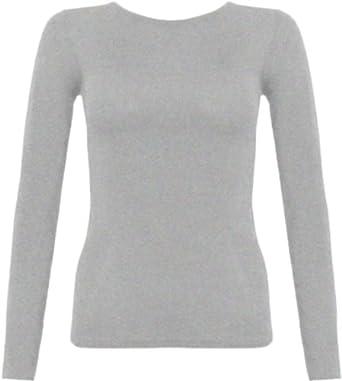 Ladies Long Sleeve T-Shirt Top Womens - Light Grey - 12 / 14 ...