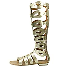 fereshte Women's Cut Out Knee High Flat Summer Boots Gladiator Sandals