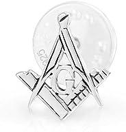 Freemasons Masonic Compass Symbol Lapel Pin Apprentice Square For Men For Women 925 Sterling Silver
