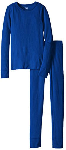 Fruit of the Loom Boys' Waffle Thermal Underwear Set, Ocean Blue, 14/16