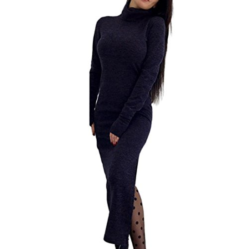 Price comparison product image Women Dress Daoroka Women's Sexy Cut Out Split Knitted High Neck Slim Fitness Jumper Sweater Dress New Fashion Vintage Long Straight Club Dress Spring Autumn Winter Party Skirt (XL, Blue)