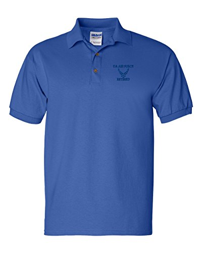Mens US Air Force Retired Personalized Embroidery Embroidered Polo Shirts