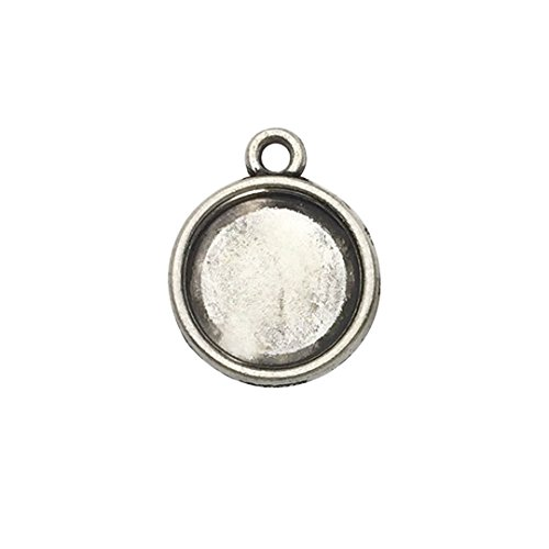 Youdiyla 60 PCS 12mm Double Sided Round Pendant Trays, Antique Silver Blank Bezel Cabochons Dome Base Setting Frame Cameo Metal Charms Jewelry Making DIY Findings (3096) ()