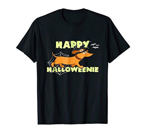 Mens Happy Halloweenie T-Shirt Funny Dachshund Sausage Dog Witch 2XL Black