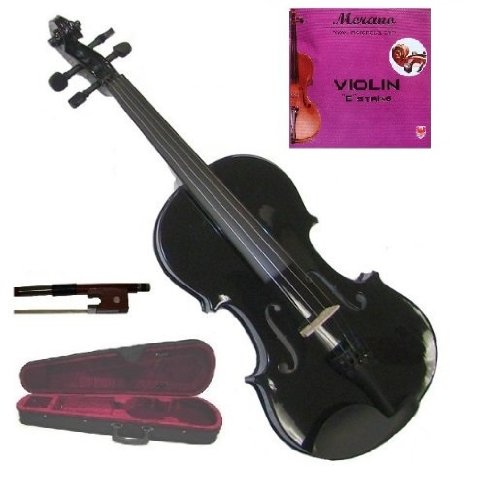 GRACE 4/4 (Full) Size Black Acoustic Violin with Case and Bow+Free Rosin+Merano Brand E String