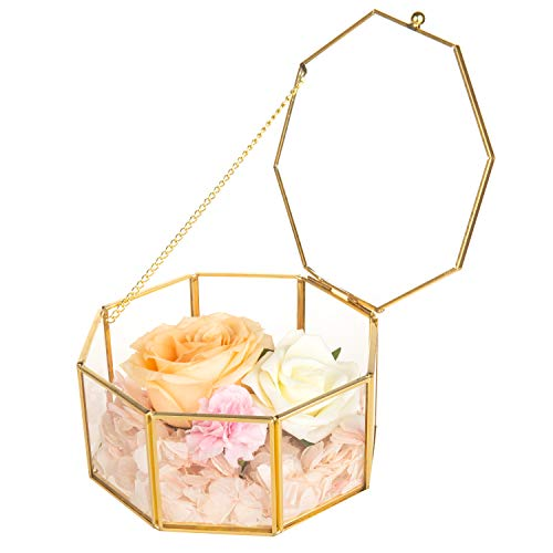 Octagon Flower - Feyarl Glass Jewelry Trinket Box Ornate Wedding Ring Earring Box Preserved Flower Octagon Glass Box Decorative Box (Gold)