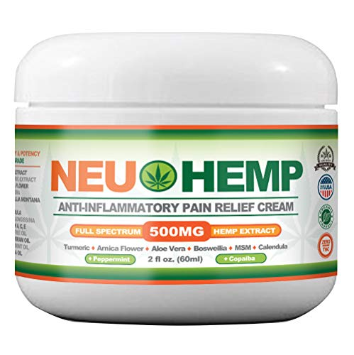 Hemp Oil for Pain Relief - Organic Cream 500mg Full Spectrum Extract Topical for Muscle Nerve Numbing Relieving Knee Joint Lower Back BOSWELLIA with Pure TUMERIC Arnica Enhanced MSM Aloe Vera 2OZ RUB (2 Ounce Aloe Jar)