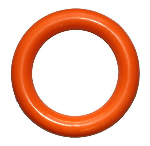 PlayfulSpirit Durable Natural Rubber Ring, Best for Tug War, Throw, Catch, Fetch Plays, Great Chew Toy for Puppies and Adult Dogs, Large, Orange (Tug Rubber)