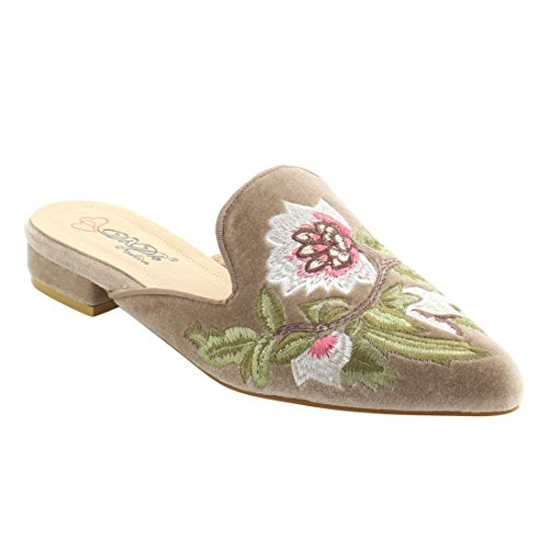 DbDk AG88 Women's Chic Backless Slip On Embroidery Mule Flats Taupe