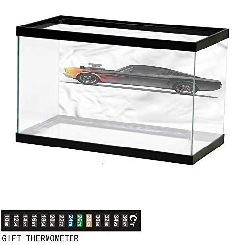 bybyhome Fish Tank Backdrop Cars,Retro Supercharger Vehicle,Aquarium Background,24