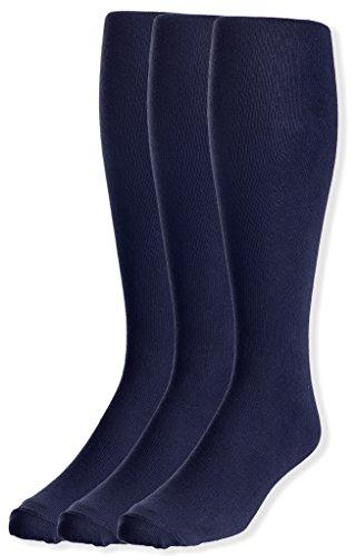 JRP Men's Knee Length Flat Extra Soft Cotton Knit Dress Socks - 3 Pack -Navy ()
