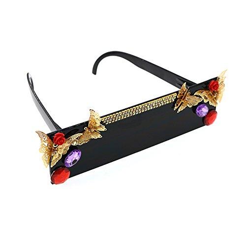 sola sol Baroque gran Big a Personalidad sol de mujer negro una mano Gafas tamaño de mujer Square Butterfly Gafas para Color UV de de protección polarizada pieza Crystal para hecho estilo sol gafas de 1Tq0vS16w