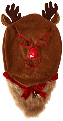 Bcozy Costumes Amazon (Bcozy Men's Animal Hat Beared Christmas Deer Luchador, Tan/Red, Standard)