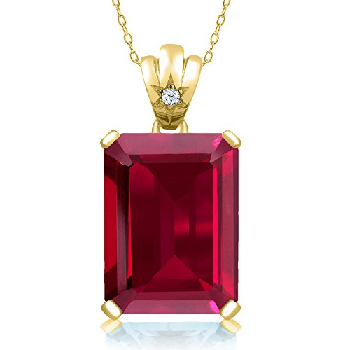 17.05 Ct Emerald Cut Red Created Ruby 18K Yellow Gold Plated Silver Pendant