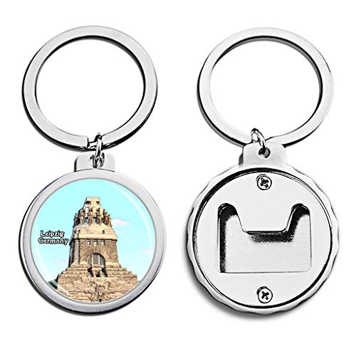 Germany Bottle Opener Keychain Leipzig Monument Mini Bottle Cap Opener Keychain Creative Crayon Drawing Crystal Key Chain Travel Souvenirs Metal