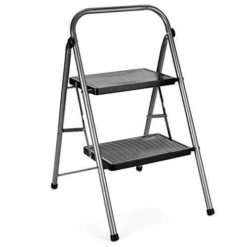 Delxo 2 Step Ladder Folding Step Stool Ladder with Handgrip Anti-Slip Sturdy and Wide Pedal Lightweight 2 Step Stool Multi-Use for Household and Office Portable Step Stool Steel 330lbs (2 feet)