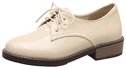 Mofri Women's Stylish Burnished Round Toe Low Top Block Low Heel Lace up Oxfords Shoes (Beige, 7.5 B(M) US) (Round Stack Toe Heel Pumps)
