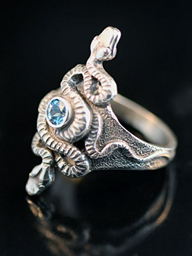 Sterling Silver Alpha Omega Snake Ring With Gemstone Serpent Jewelry ()