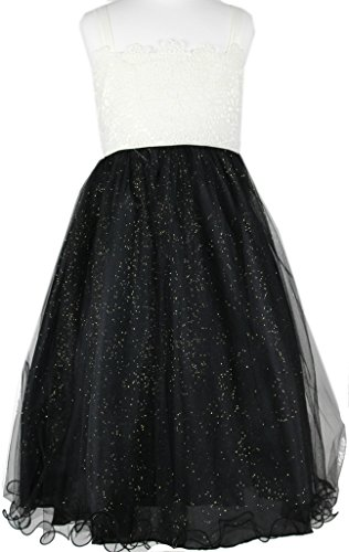 - Flower Girl Two-Tone Spaghetti Strap Sparkling Dress for Big Girl Black 6 P2.56A