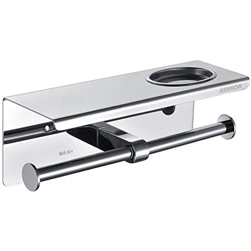 ASHAON Toilet Paper Holder, Stainless Steel Bathroom Tissue Holder with Storage Shelf Rack and Ashtray, Wall Mounted Double Roll Paper Towel Dispenser and Holder, Brushed Finish